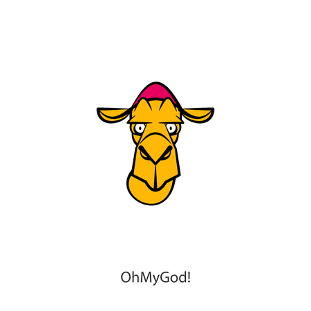 Cartoon character of an eastern or farm animal. Head of a funny tough scared camel. Vector. Conceptual. Oh my God! What is it? Ilustrace