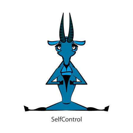 Cartoon funny farmer or mountain character. A cool, serious, focused goat sits on a string in a meditating pose. Vector. Conceptual. Self-control. Self control. Management of the spiritual state. Illustration