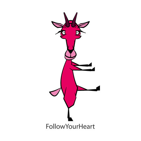 Cartoon character farm animal. Funny cute goat froze standing in motion on a white background. Vector illustration. Follow your heart!