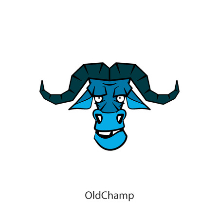 The head of a steep, serious, formidable wild bull. Sticker, pattern, signboard. Vector illustration. Cartoon character of the southern forest dweller. Old champion! Old Bill! Guard the law. Conceptual. Ilustração