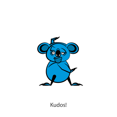 Cartoon character of the Australian inhabitant. Funny koala is standing in the pose of dance and grimaces on a white background. Vector illustration. Lets go to the carnival! Cha Cha Cha! Go-go! Hyperactive.