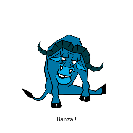 Cartoon character of a southern animal. Ridiculous cool serious wild bull sits in a pose and grimaces. Vector. Banzai! What district are you from? Ilustrace