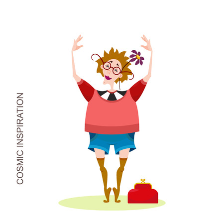 Character traveler on a walk or picnic. An adult woman posing without shoes on tiptoe with glasses and stockings with a flower in her head during morning exercises. Vector illustration in cartoon style.