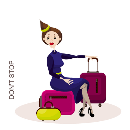 Cartoon character flight attendant or traveler with luggage. A young girl with red lips in a dress sits on a suitcase in the lounge waiting for flight. Vector illustration.