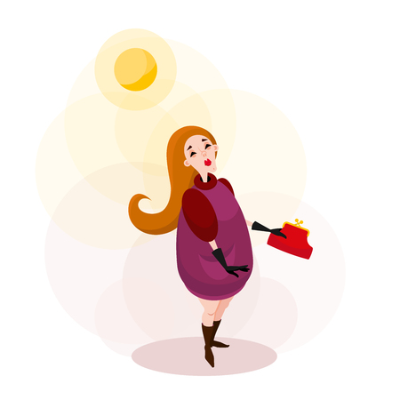 The character on the walk welcomes the sun. A young blond woman in a coat and gloves with a clutch in her hand walking in sunny weather. Vector illustration in cartoon style.