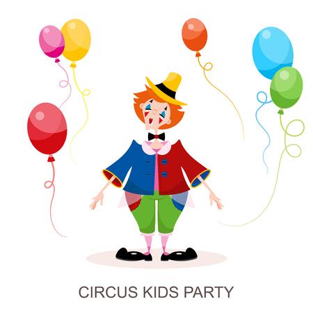 Clown drôle de personnage du cirque. Une jeune fille est animatrice dans un costume de cirque coloré et un chapeau joue avec des ballons. Illustration vectorielle en style cartoon. Vecteurs