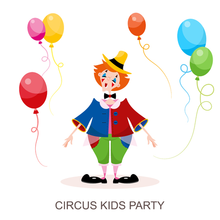 Funny character clown from the circus. A young girl is an animator in a colored circus costume and a hat performs with balloons. Vector illustration in cartoon style.