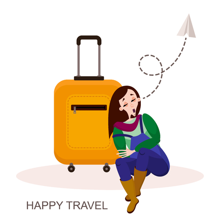 Ride, trip. Character traveler. A young tired girl dozed off on her suitcase in the airport lounge or the train station in anticipation of the flight. Vector illustration in cartoon style. Vetores