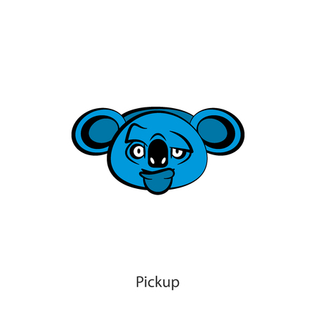 Funny cool koala head on a white background. Sticker, template, background. Vector illustration. A cartoon character of an Australian. Womanizer. Make eyes. Illustration