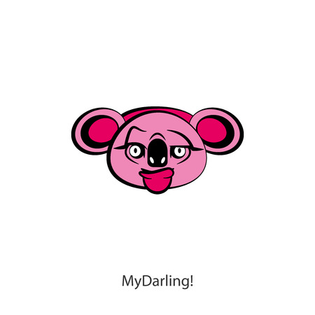 Funny cool koala head on a white background. Sticker, template, background. Vector illustration. A cartoon character of an Australian inmate thinks. My darling! Illustration
