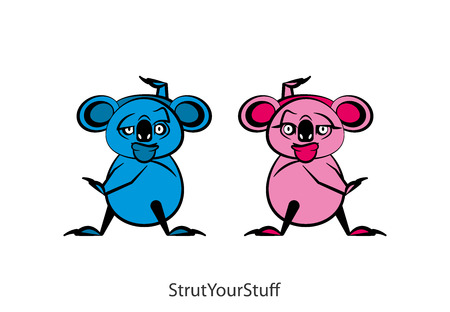 Cartoon character of the Australian inhabitant. Funny koala is standing in the pose of dance and grimaces. Vector illustration. Lets go to the carnival! Enjoy the dance. Spark off.