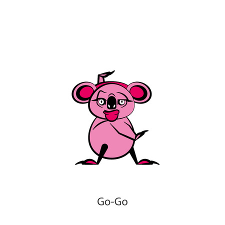 Cartoon character of the Australian inhabitant. Funny koala is standing in the pose of dance and grimaces on a white background. Vector illustration. Let's go to the carnival! Cha Cha Cha! Go-go! Hyperactive.