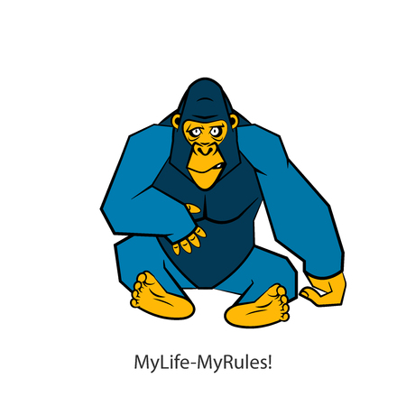Cartoon character of an African animal. Serious cool sitting gorilla posing on a white background. Vector illustration. Wild inhabitant of the jungle. Conceptual. My life - my rules!
