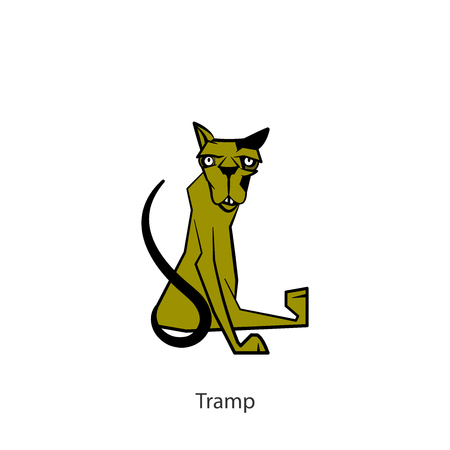 Cartoon character of a pet. Funny cool cat sitting and posing. Vector illustration. Conceptual. Tramp.
