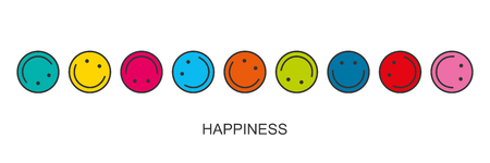 Flat linear design. Round multi-colored smiling smiles are rolling one after the other. Vector. The concept of happiness. Decorations for holidays, apps and web sites.