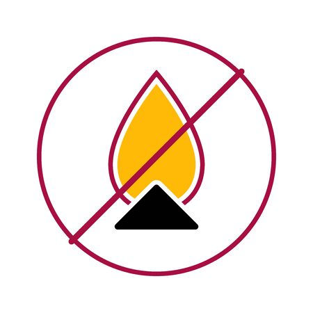 Flat linear design. Information prohibition sign for public and specialized places. The use of fire is prohibited. Bonfire with a flame. Burning garbage or waste is not allowed. Vector