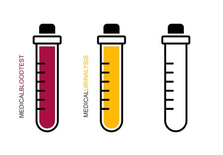 Flat linear design. Medical test tube icon.The closed test tube is empty, with blood and urine for mobile applications, web sites and public use.Vector.