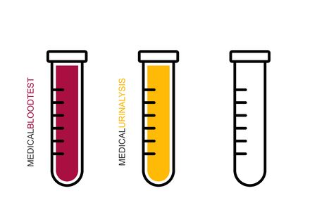 Flat linear design. Medical test tube icon.The opened test tube is empty, with blood and urine for mobile applications, web sites and public use.Vector.