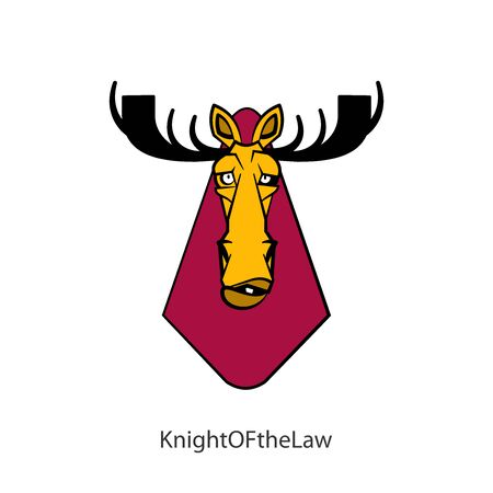 Cartoon character of an African animal. The head of a funny tough moose with large branchy horns. Vector. Conceptual. Emotional grimaces. Knight of the law. Right knight. Guardian of law Illustration