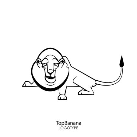 Cartoon character of an African animal. A funny cool lion with a pained mane lies and grimaces with an open mouth. Vector. Conceptual. Leader. Ringleader. Ilustração