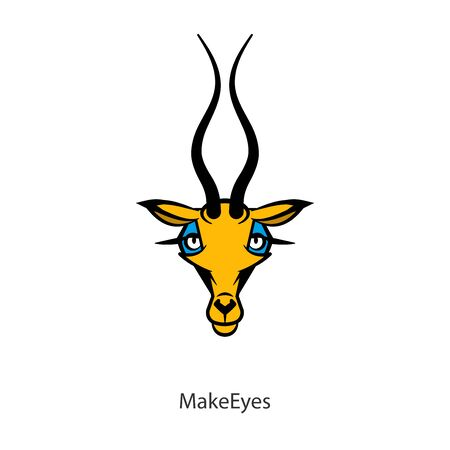 Cartoon character of a southern animal. Head of a funny beautiful cute roe or antelope. Vector. Conceptual. Ogle! Flirting.