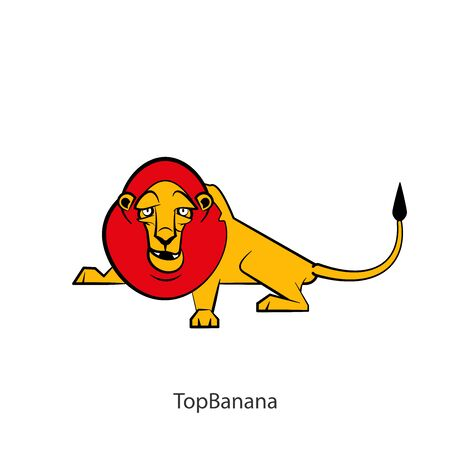 Cartoon character of an African animal. A funny cool lion with a pained mane lies and grimaces with an open mouth. Vector. Conceptual.  イラスト・ベクター素材