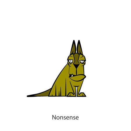 Cartoon character of a pet. Funny cool dog sitting in a pose and grimaces on a white background. Vector illustration. My loyalty, your loyalty. I do not believe. Not true. You're lying. Nonsense.