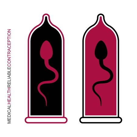 Flat linear design. Sperm in a condom. Medical protection icon for applications, web sites and public use. Intimate health. Vector illustration. Illustration
