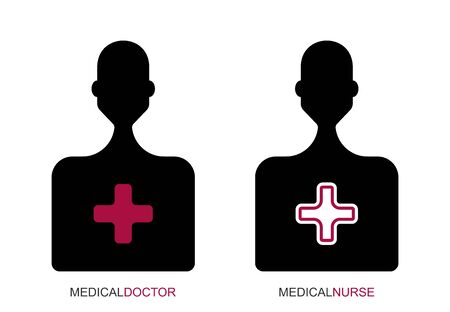 Flat linear design. Silhouette of a man with an open and closed capsule. Human icon for apps, web sites and public use. Patient, nurse, doctor. Vector illustration. Man.