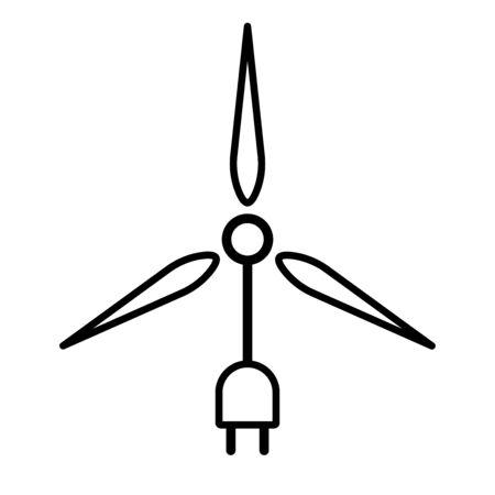 Flaches lineares Design. Flaches Symbol für die Nutzung von Windenergie. Vektor-Illustration. Moderne Technologien. Windkraft. Die Energie der Luftmassen.
