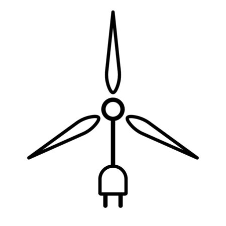 Flat linear design.Flat icon denoting the use of wind energy. Vector illustration. Modern technologies. Wind power. The energy of air masses.