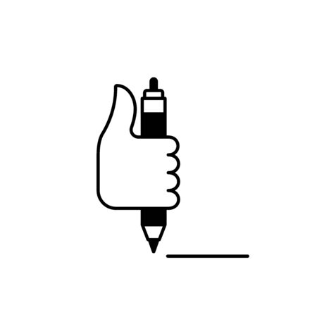 Flat linear design. Head hand icon for mobile applications, web sites and public use. Vector illustration. Hand and automatic pen. Place to sign on the document. Accepted, conducted.