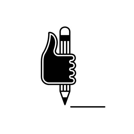 Flat linear design. Head hand icon for mobile applications, web sites and public use. Vector illustration. Hand and automatic pen. Place to sign on the document. Draw the line.