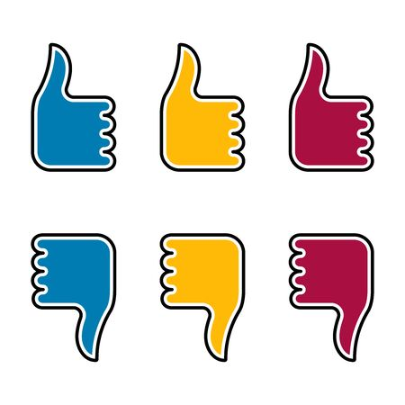 Flat linear design. Like, dislike and hand icon for mobile apps, web sites and public use. Vector illustration. A hand with a raised finger up and down.