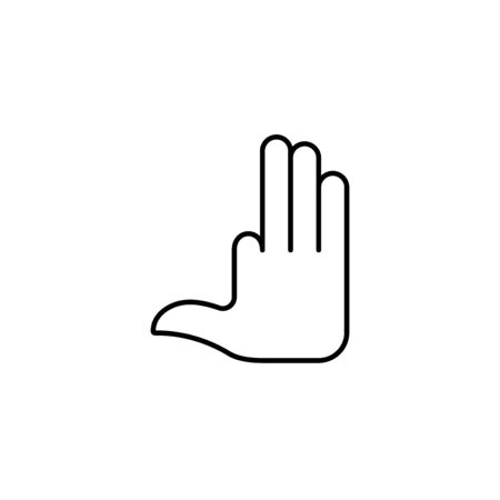 Flat linear design. Number four hand gesture icon for mobile applications, web sites and public use. Vector illustration. Open palm with one bent finger. Four fingers. Ilustrace