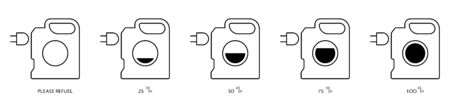 Flat linear design. Electric vehicle refill icon for apps, web sites and public use. Canister with electrical outlet. Concept - Modern fuel. Charge level Vector