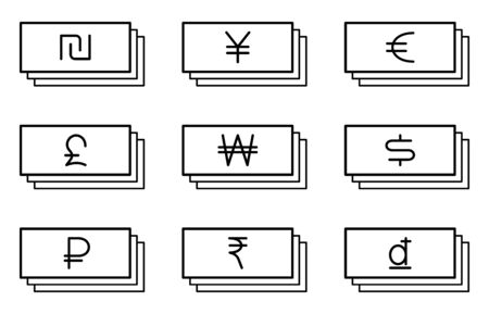 Flat linear design. Flat icons of paper money with different currency for applications and web sites. Vector illustration. Ruble, dollar, euro, shekel, dong, rupees, a pound of shooters. Set 일러스트