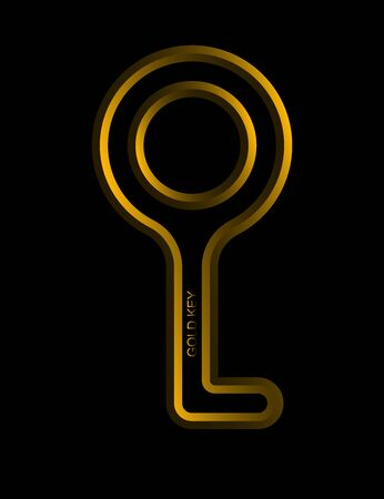Logo or emblem design. Key icon for apps and web sites, gaming and sports industry. Metallic abstract key. Golden Key. Winning Award - Vector. Illustration