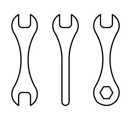Flat linear design. Crossed wrenches vector icon for applications, web sites and public use - Vector