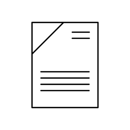 Flat linear design. Office document icon for applications, web sites and business industries. Paper sheets with abstract text. Pile of papers, contract, reporting. - Vector.