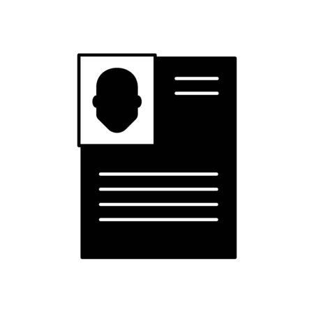 Flat linear design. Office document icon for applications, web sites and business industries. Paper sheet with abstract text and photo of an employee. Resume, portfolio, personal business. - Vector. Illustration