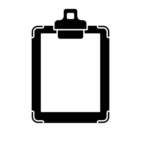 Flat linear design. Clipboard with blank paper - Vector. Çizim