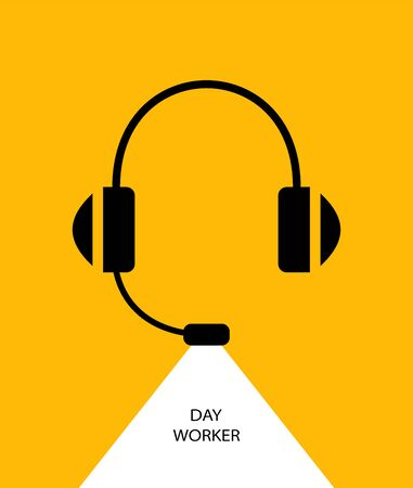Daytime worker. Flat linear design. Monaural stereo headphones with headset. Headphones with a microphone. Background - Vector. Ilustração