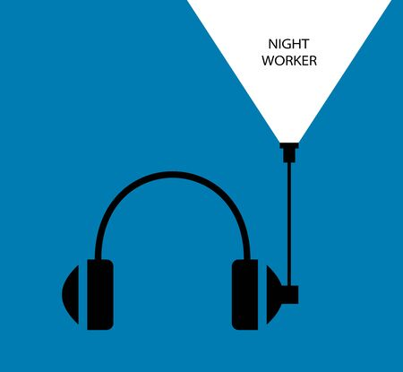 Night worker. Flat linear design. Monaural stereo headphones with headset. Headphones with a microphone. Background - Vector. Illustration