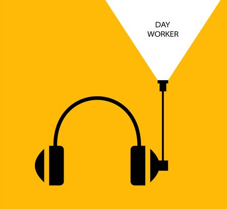 Daytime worker. Flat linear design. Monaural stereo headphones with headset. Headphones with a antenna and abstract signal.