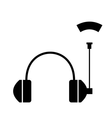 Flat linear design. Headphone icon for apps, web sites and public use. Headphones with antenna and abstract radio wave - Vector. Illustration