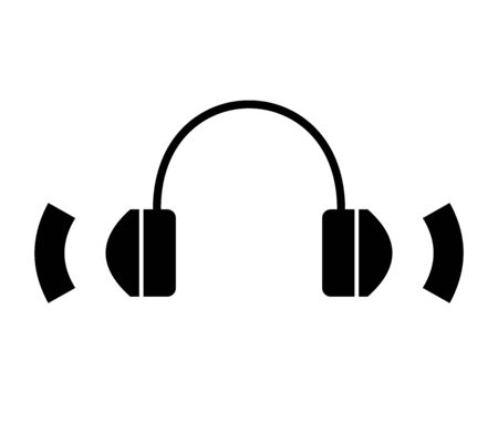 Flat linear design. Headphone icon for apps, web sites and public use. Headphones and abstract sound - Vector.