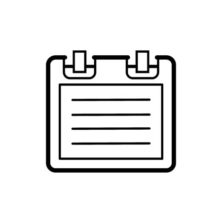 Flat linear design. Notepad icon for applications, web sites. Work notebook with a paper sheet. Record or note - Vector.