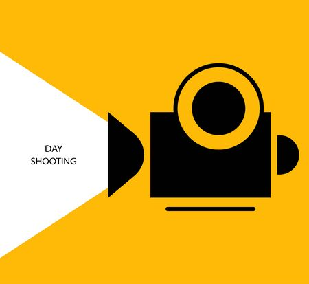 Flat design. Invitation, advertising, background. Silhouette of a video camera recording on a yellow background. Day shot. - Vector.