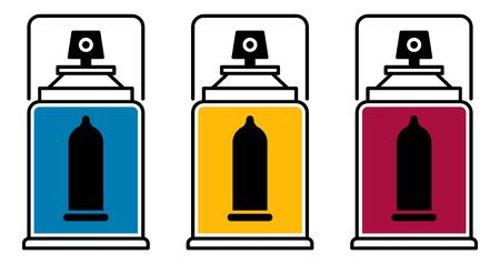 Flat linear design. The icon of a modern contraceptive for applications, web sites and public use. Balon with a liquid condom - Vector.